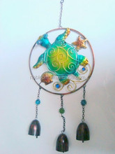 Home Decor Green Turtle Glass and Metal Honu Hanging Wind Chime