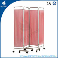 BT-CP001 stainless steel medical 4 parts medical screen with wheels