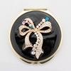 Popular compact mirror/Bowknot Wedding Pocket Mirror Decoration/Black Cosmetic Purse Mirror