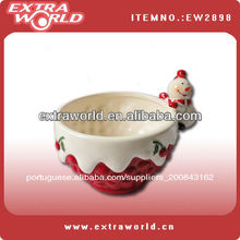 boneco de neve de natal tigela de cerâmica