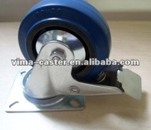 2012 75mm Blue Elastic casters and wheels with brake