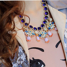 sn127 de color turquesa con cuentas multicolores cadena de hechos a mano joyería collares declaración para las mujeres