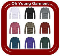 Oem mens cotton/polyester crew neck long sleeve plain white t-shirt wholesale in China