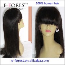 Hot Sale Top Grade Virgin Human Hair Silky Straight Full Lace Wig Brazilian Remy With Bangs