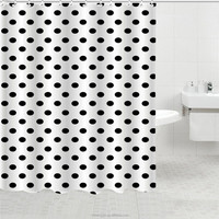 shower curtain black dotted with curtain bottom weight, shower curtain with metal eyelets