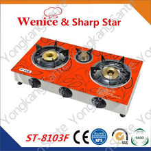 Factory supply new design 3 cast iron burner glass top gas stove,gas cooker ,gas cooktops ST-8103F