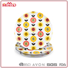 Chime design food grade 10inch 4pcs round melamine plate sets