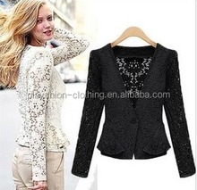 Small women coat of autumn new fund lace hollow-out cardigan short coat