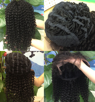 100% human hair extention kinky curly lace front wig human hair wig clip in/ on half wig hairpieces