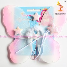 Colorful cheap large angel wings set with headband and wand