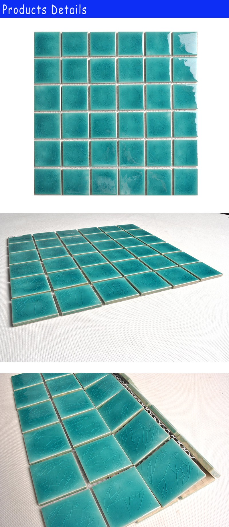Hot Sale Double Ice Crackle Green Ceramic Mosaic Pool Tiles - Buy ...