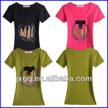 Ladies branded fashion new trend 100% cotton organic t-shirt for women