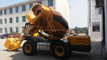 mobile concrete mixers 1.2CBM with self loading bucket for export