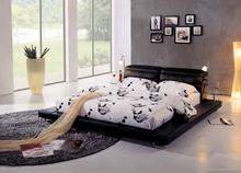 Modern 2015 New Designs Elegant Black Color Extend Side Leather King Bed Room Furniture King Size Bed Royal Bed