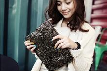 2015 Hot Sale New Women Clutch Retro Fashion Sequin Evening Bags Soft PU Wholesale