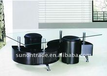 modern glass and wooden coffee table S shaped