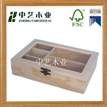 2015 year factory suppliers selling FSC&SA8000 pine customized wooden tea box for made in china
