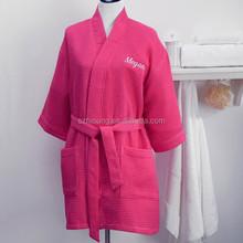 100% Cotton Womens Waffle BathRobe Kimono