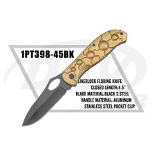 "4.5"" closed liner lock aluminum handle folding Knife black blade(1PT398-45BK)"