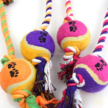 wholesale products for pet shop pet toy rope knot and tennis ball for dog playing and chewing