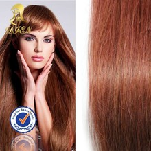 Fashion red color micro loop ring hair extension,16 inches straight indian remy virgin hair extensions