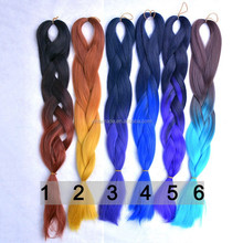 Top quality synthetic ombre marley hair braid/kanekalon jumbo braid two tone ombre hair braids extensions