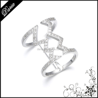 DLY Attractive double ring one finger design sterling silver wave ring jewelry beautiful pictures of rings
