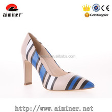 Dress shoes for woman 2015 latest printing color matching fashion high heel leather
