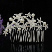 New Fancy faux pearl ornament korea hot selling hair accessory rhinestone handcraft crystal star Jewelry bridal hair comb