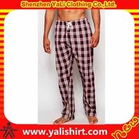 2015 high quality comfortable plain cheap 100%cotton check lounge wear men's sleepwear pants