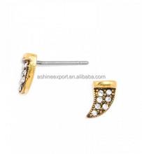 Antique Gold Tone Pave Rhinestone Mini Horn Ear Stud Earring