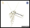 Angel Wing Charm Journey Necklace Sterling Silver Black Engraved Jewelry