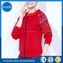 fashionable zip up printed women hoodies sweatshirt