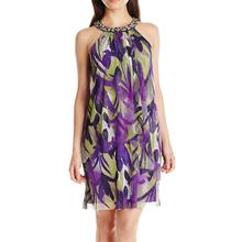 china oem european style clothing sexy purple combination dresses round halter neck short chiffon beaded moroccan kaftan dress