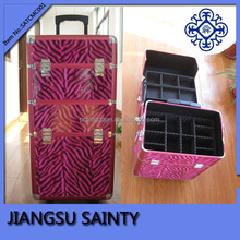 Pink zebra pattern pu professional makeup trolley case