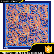"Good Seller New 10"" 100% Silk Pocket Square Men's Handkerchief Orange Blue Paisley"