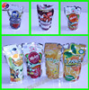 Qingdao 100micron Flexible packaging stand up with straw plastic pouch Juice fruit bags