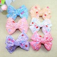 Fashion crystal rhinestone handmade hair korean bow clip