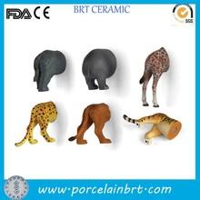 Ceramic various animal butt souvenir fridge magnet
