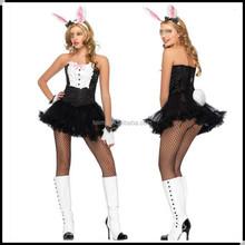 China black yarn strapless adult rabbit costume
