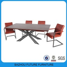 The newest luxury top wooden dining table with metal legs