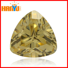 Wholesale fat triangle cut golden cubic zirconia(cz) gemstone