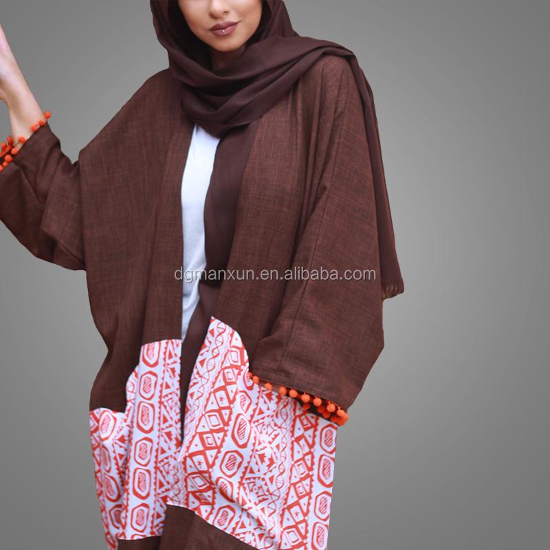 2017 fashion design printed pattern abaya dubai open linen abaya kimono muslim dress with pockets (4).jpg