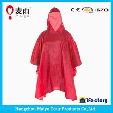 disposable rain poncho with cap for emergency use