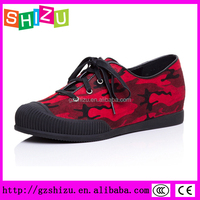 Latest lace up casual hidden wedge sneaker for women camouflage pony sneaker shoes for women