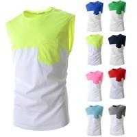 Men Cotton Summer O-Neck collar Fashion Patchwork Shirt, Brands Men T-shirt 2015 8 Colors