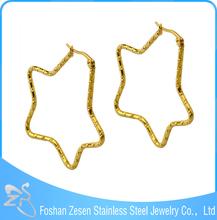 ZS17072 stainless steel wholesale star shape earrings gold basket earrings