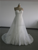 MN-W163 White A-line Strapless Empire High Waist Lace Maternity Wedding Dress For Pregnant Women