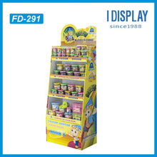 Lovely Cartoon Design Customized Corrugated Cardboard Floor Display Shelf Rack For Kid Coloured Art Pen