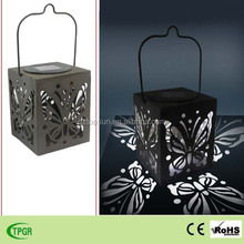 Hot selling metal iron square butterfly hand lanterns solar garden light